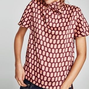 NWT Zara Women Printed High Collar Blouse